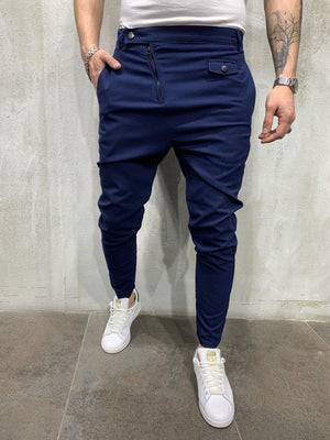 Navy Side Zip Slim Fit Casual Mens Pant AY461 Mens Pant - Sneakerjeans