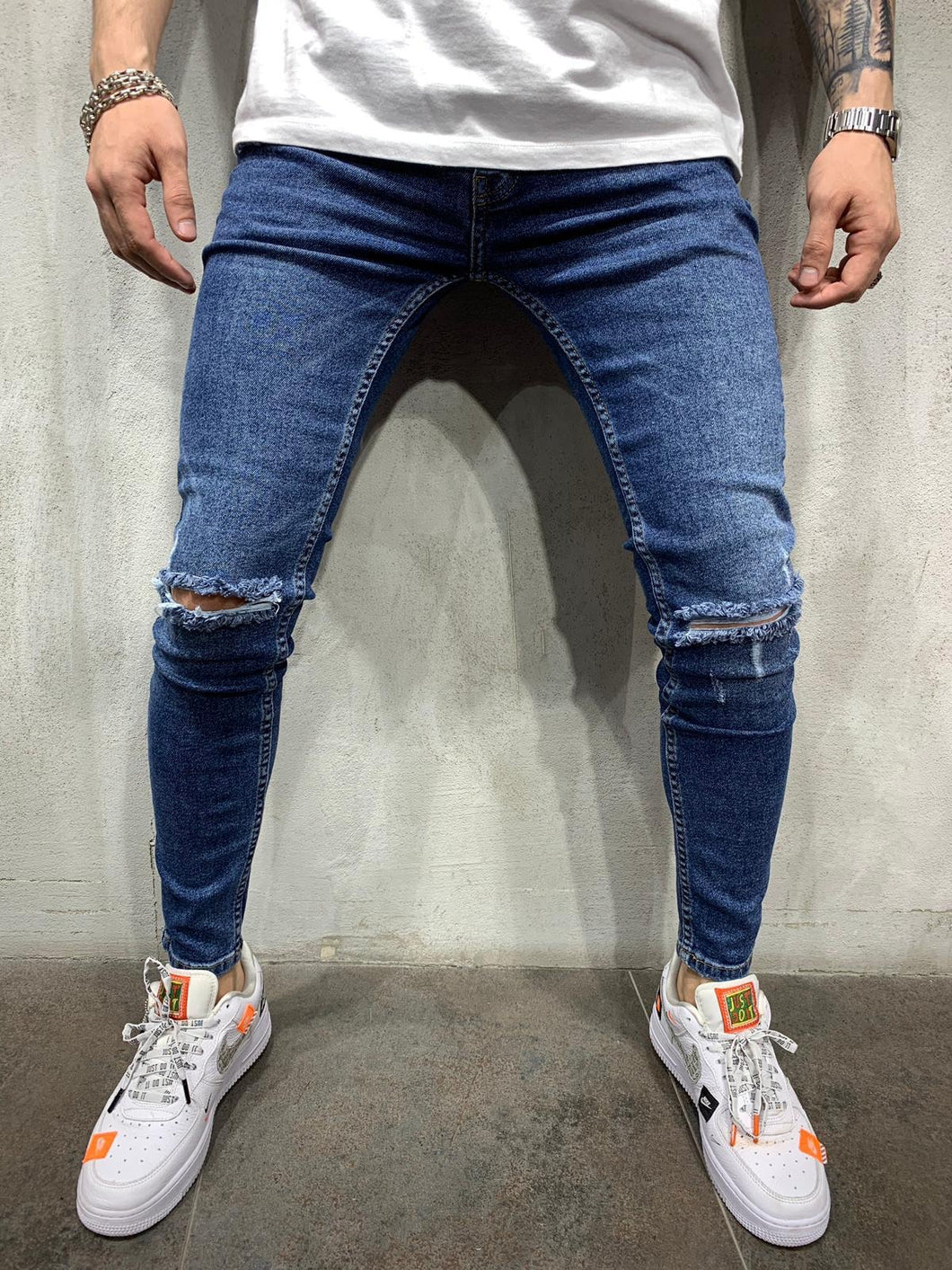 Dark Blue Ripped Jeans Slim Fit Mens Jeans AY514 Streetwear Mens Jeans - Sneakerjeans