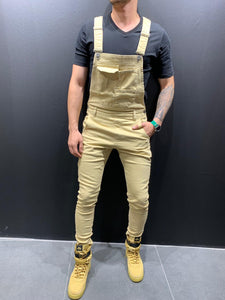 Beige Front Pocket Mens Jeans Overall AY565 Streetwear Mens Jeans Overall