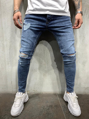Washed Blue Jeans Slim Fit Mens Jeans AY454 Streetwear Mens Jeans - Sneakerjeans