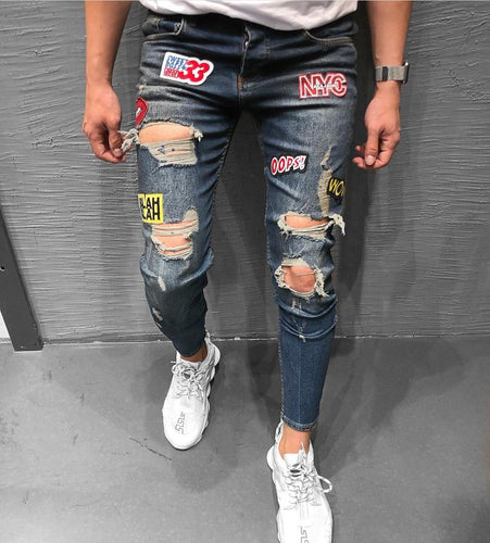 Blue Patched Ripped Jeans Ultra Slim Fit Jeans KB168 Streetwear Mens Jeans