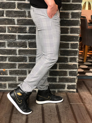 Gray Checkered Slim Fit Casual Mens Pant DJ179 Mens Pant - Sneakerjeans