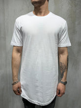 Load image into Gallery viewer, White Side Zip Oversized Mens T-Shirt AY432 Streetwear Mens T-Shirts