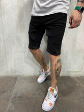 Load image into Gallery viewer, Black Ripped Jeans Short AY466 Streetwear Mens Shorts