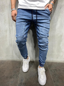 Blue Washed Banding Mens Jogger Jeans AY535 Streetwear Mens Jogger Jeans