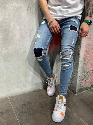 Blue Patched Ripped Jeans Slim Fit Mens Jeans AY491 Streetwear Mens Jeans - Sneakerjeans