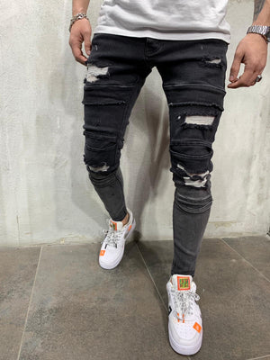 Tappered Black Ripped Jeans Slim Fit Mens Jeans AY446 Streetwear Mens Jeans - Sneakerjeans