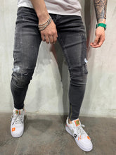 Load image into Gallery viewer, Ankle Zip Washed Black Jeans Slim Fit Mens Jeans AY492 Streetwear Mens Jeans - Sneakerjeans