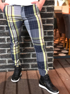 Gray Coloured Checkered Slim Fit Casual Pant DJ101 Streetwear Pant