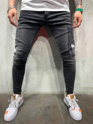 Ankle Zip Washed Black Jeans Slim Fit Mens Jeans AY492 Streetwear Mens Jeans - Sneakerjeans