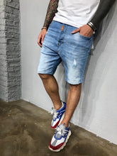 Load image into Gallery viewer, Washed Light Blue Ripped Jeans Short BL459 Streetwear Mens Shorts