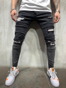 Tappered Black Ripped Jeans Slim Fit Mens Jeans AY446 Streetwear Mens Jeans