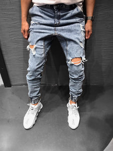 Light Blue Ripped Jeans Loose Fit Jogger Jeans KB164 Streetwear Mens Jeans