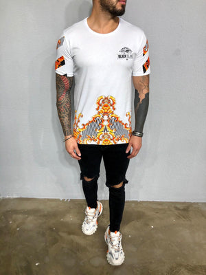 White Printed Oversized Mens T-Shirt BL468 Streetwear Mens T-Shirts - Sneakerjeans