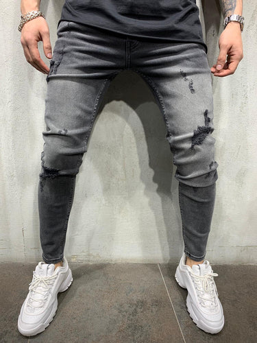 Washed Gray Jeans Slim Fit Mens Jeans AY455 Streetwear Mens Jeans