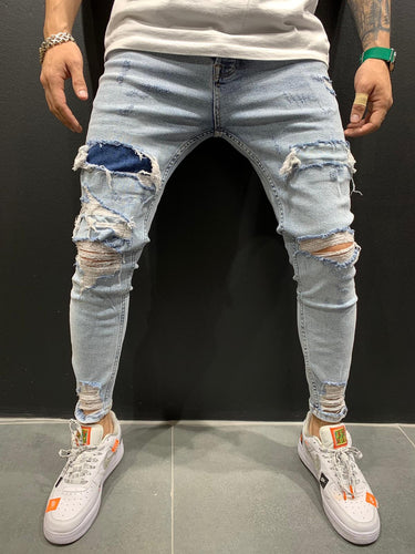 Light Blue Patched Ripped Slim Fit Mens Jeans AY551 / 4449 Streetwear Mens Jeans