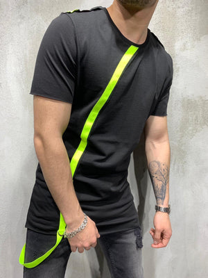 Black Neon Strap Oversized Mens T-Shirt AY431 Streetwear Mens T-Shirts - Sneakerjeans