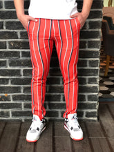 Load image into Gallery viewer, Red Striped Slim Fit Casual Mens Pant DJ184 Mens Pant