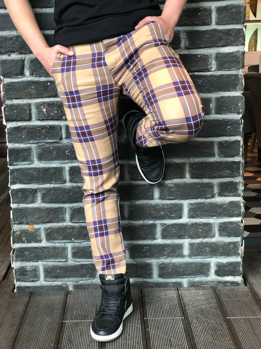 Beige Mixed Colour Checkered Slim Fit Casual Pant DJ126 Streetwear Pant - Sneakerjeans