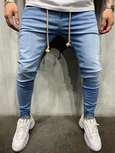 Light Blue Washed Banding Slim Fit Mens Jeans AY537 Streetwear Mens Jeans