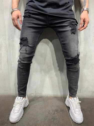 Washed Black Jeans Slim Fit Mens Jeans AY456 Streetwear Mens Jeans