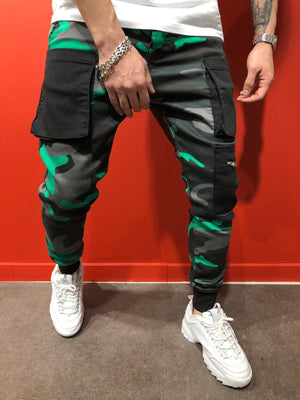 Green Cargo Pocket Jogger Pant AY583 Streetwear Mens Pants - Sneakerjeans