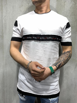 White Stripe Part Oversized Mens T-Shirt AY475 Streetwear Mens T-Shirts - Sneakerjeans