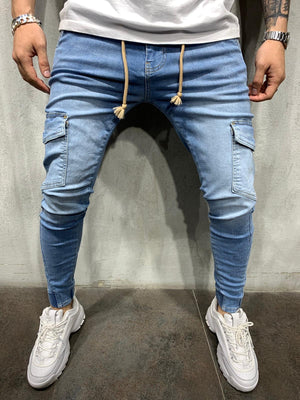 Light Blue Washed Banding Cargo Pocket Slim Fit Mens Jeans AY538 Streetwear Mens Jeans - Sneakerjeans