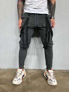 Strap Front Pocket Anthracite Joggers BL450 Streetwear Mens Jogger Pants