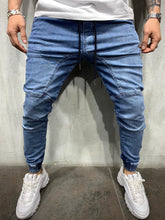 Load image into Gallery viewer, Blue Washed Banding Mens Jogger Jeans AY535 Streetwear Mens Jogger Jeans