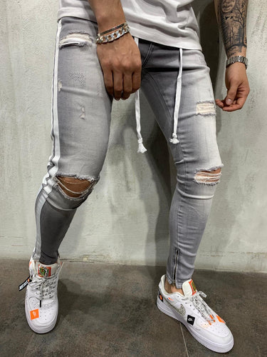Gray Washed Side Striped Ankle Zip Ripped Slim Fit Mens Jeans AY545 /4446  Streetwear Mens Jeans