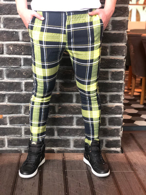 Navy Yellow Checkered Slim Fit Casual Pant DJ112 Streetwear Pant - Sneakerjeans
