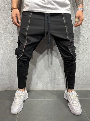 Black Big Zipper Jogger Pant AY605 Streetwear Mens Jogger Pants - Sneakerjeans