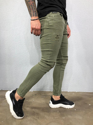 Sneakerjeans - Khaki Slim Fit Ripped Jeans BL497 - Sneakerjeans
