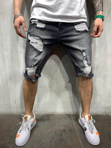 Washed Black Ripped Jeans Short AY463 Streetwear Mens Shorts - Sneakerjeans