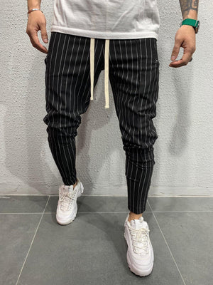 Black Striped Jogger Pant AY585 Streetwear Mens Pants - Sneakerjeans