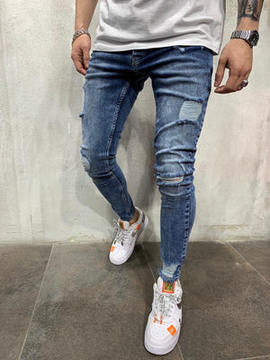 Blue Side Ripped Jeans Slim Fit Mens Jeans AY512 Streetwear Mens Jeans - Sneakerjeans