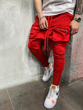 Load image into Gallery viewer, Red Front Pocket Baggy Joggers AY519 Streetwear Mens Jogger Pants - Sneakerjeans