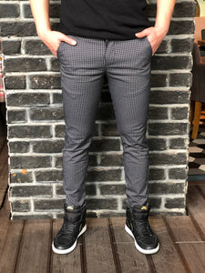 Black Pattern Slim Fit Casual Mens Pant DJ182 Mens Pant