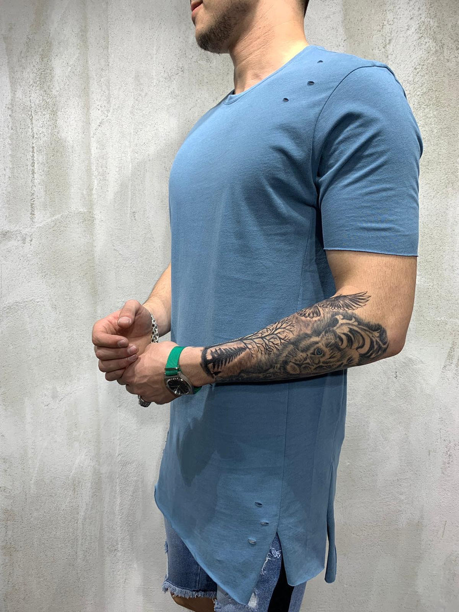 Blue Ripped Oversized Mens T-Shirt AY470 Streetwear Mens T-Shirts - Sneakerjeans