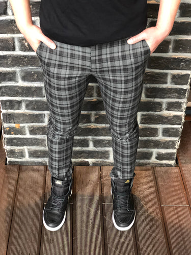 Black Gray Checkered Slim Fit Casual Mens Pant DJ180 Mens Pant