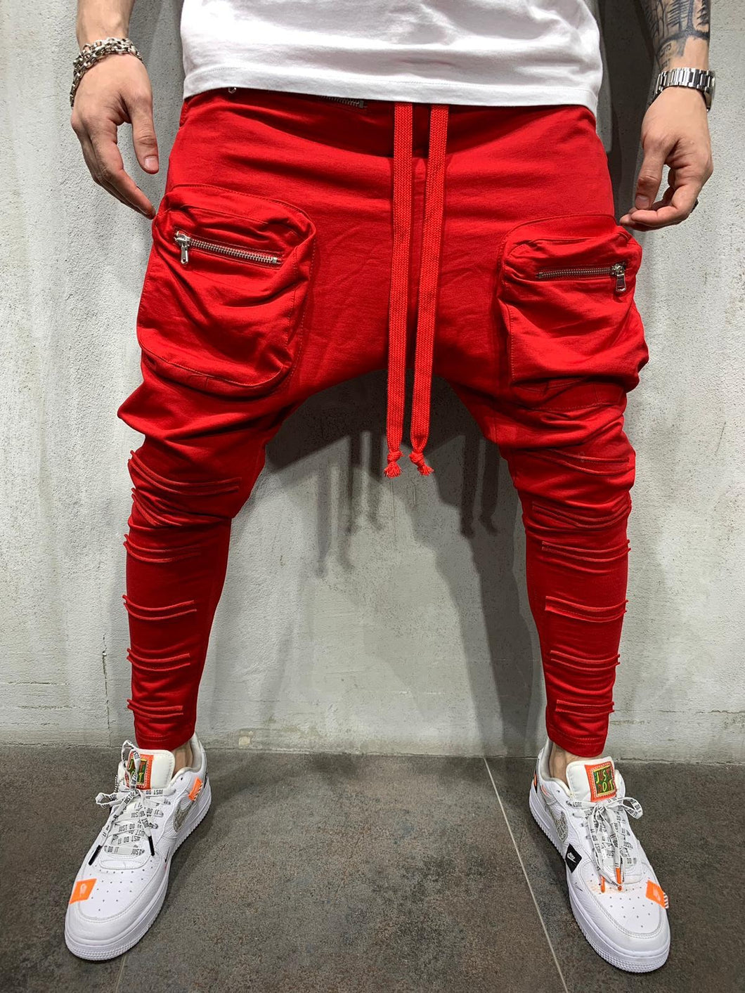 Red Front Pocket Baggy Joggers AY519 Streetwear Mens Jogger Pants - Sneakerjeans