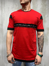 Load image into Gallery viewer, Red Stripe Part Oversized Mens T-Shirt AY474 Streetwear Mens T-Shirts