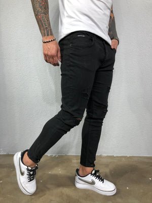 Black Ripped Jeans Slim Fit Jeans BL528 Streetwear Mens Jeans - Sneakerjeans