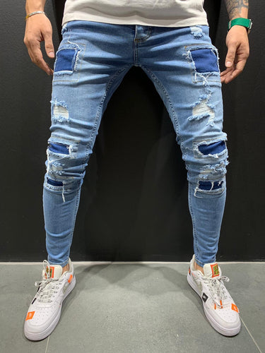 Light Blue Patched Ripped Slim Fit Mens Jeans AY574 Streetwear Mens Jeans