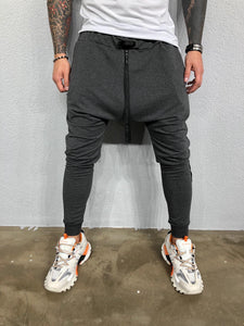 Gray Banding Ankle Zip Baggy Joggers BL486 Streetwear Mens Jogger Pants