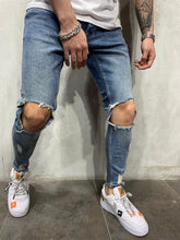 Load image into Gallery viewer, Blue Knee Ripped Jeans Slim Fit Mens Jeans AY448 Streetwear Mens Jeans
