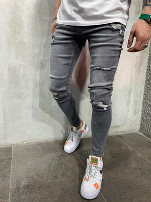 Washed Gray Jeans Slim Fit Mens Jeans AY490 Streetwear Mens Jeans - Sneakerjeans