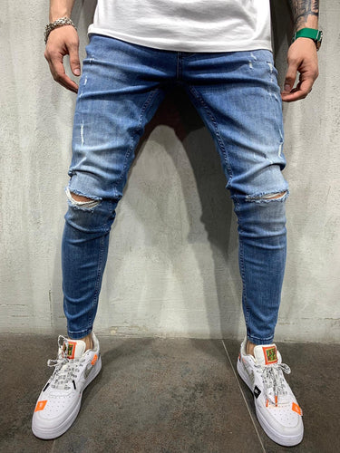Ripped Blue Jeans Slim Fit Mens Jeans AY496 Streetwear Mens Jeans