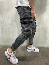 Load image into Gallery viewer, Ankle Strap Cargo Pocket Washed Black Jeans Slim Fit Mens Jeans AY502 Streetwear Mens Jeans